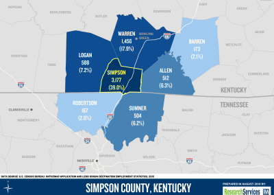 2018 Simpson County KY - Inbound Commuting Patterns Map